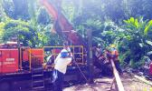 ASPA personnel drilling water wells on the eastside of Tutuila.
