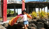 Nani Newton at the Aunu'u Island sign.