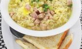 Saimin with Eggs, Ham and Green onion served with toast  [Photo: THA]
