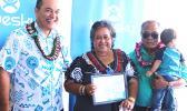 Bluesky Pacific Group chief executive officer Toleafoa Tiafau Douglas Creevey (far left) pictured last Friday, with Mr. and Mrs. Sili Sataua