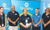 Bluesky personnel gathered for a group photo