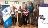 (l-r) ASCCC treasurer Christinna Lutu-Sanchez, Akenese Maifea, Faaeteete Sio, Meleseini Siufanua, ASCCC chairman Taotasi Archie Soliai, and board member Dr. Jueta McCutchan. (Not pictured is Lumana'i Maifea).