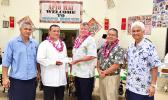 Hope House board chairman Ta'afano Joe Tavale; Rev. Fr. Faitau Lemautu; Bank of Hawaii vice president of West Hawaii, Hobbs Lowson ; BoH vice president of American Samoa operations, EJ Tyler Ozu; and Hope House board member Larry Sanitoa