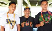 SUCCESS ALL AROUND: The two boxers, (far right) Falaniko Tauta and (far left) Jeffrey Tago  — who represented American Samoa for two weeks in Canberra, Australia during the International Training Competition. Tauta qualified for the 2018 Youth Olympic Games in Argentina, Tago will compete in this year's Pacific Mini Games, while (center) Vice President of the American Samoa Amateur Boxing Association, Okesene Malala earned his 1-star Coach certificate to coach and referee at the YOG 2018. [photo: EM]