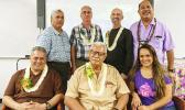 Front row (l-r) Swains Island Representative Su'a Alexander Jennings, former ACNR Director HC Tauiliili Pemerika and Cheat Day owner Tina Reid. Second row (l-r) Agriculture Extension Program Manager Autagavaia Tunai Alfred Peters, Jim Currie, Dr. Craig Elevitch and ASCC-ACNR Director Aufa'i Apulu Ropeti Areta.