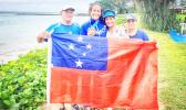 Anne Cairns with her family who joined her in Samoa
