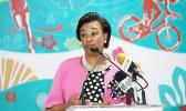 Baroness Patricia Scotland, Commonwealth Secretary General, speaks to the media during the 2017 Commonwealth Youth Games Opening on July 17, 2017 in Nassau, Bahamas.  [Photo: Mark Kolbe/Getty Images/AFP]