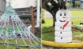 Christmas Tree made of plastic bottles and snowman from painted tires