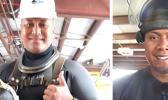 Photos of Peter Taliva'a, from Leloaloa/ Aunu'I Island, and Richard Salanoa, from Tula/ Fagaalu in dive suits