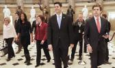 Paul Ryan of Wis., center, walks with other members of Congress to the House Chamber on Capitol Hill in Washington, Monday, Jan. 22, 2018, to begin a vote on a short term spending bill to reopen the government. (AP Photo/Pablo Martinez Monsivais)
