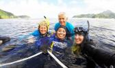 Dr. Charles Birkeland and Dr. Alison Green with local scientists Motusaga Vaeoso and Alice Lawrence were in the water, completing the Aua Transect survey for the program's 100th anniversary celebration last week. The survey is the oldest survey of a coral reef in the world. [photo: courtesy]