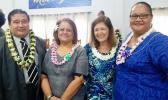 In this Samoa News file photo,  ASCC President Dr. Rosevonne Makaiwi-Pato after she delivered the keynote address for Manual Academy's 8th grade graduation last week. (L-r) Pastor Lemmy Seumanu, Dr. Makaiwi-Pato, Donna Gurr -Vice Chairperson of the Manumalo Academy school board, and board member Tish Peau. [photo: Blue Chen-Fruean]