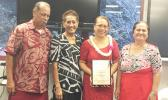 Tafuna High School principal Tutuila Togilau (second from right), Philo Jennings (far left) and Faaui Vaitautolu (second from left).