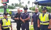 DPS officers pose for the Samoa News camera during the 2018 holiday enforcement.