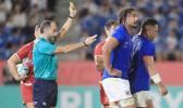 Samoa's Motu Matu'u (R) failed a concussion test after being yellow carded.
