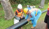 Contractors work on the Te Mato Vai water project in Rarotonga, Cook Islands [Photo: Phillipa Webb / Cook Islands News]