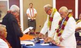 Tuiloma Pula Lameko [on the left] being sworn in as a deputy head of state alongisde Le Mamea Ropati [Photo: RNZI/Autagavaia Tipi Autagavaia]