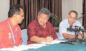 Director General of Health Leausa Dr Take Naseri (middle) with two senior doctors