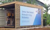 Sign on container: Samoa-New Zealand Renewable Energy Partnership