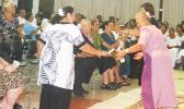 Family members of the late Congressman Faleomavaega Eni Hunkin doing a Samoan siva, to one of Faleomavaega's songs about his beloved village of Vailoatai. The song was performed by the CCCAS Vailoatai Choir, led by its Rev. Faletoi Uso. [photo: FS]