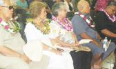 [l-r] Secretary of Samoan Affairs Mauga Tasi Asuega and his wife Lagi; Mrs. Gail Kruse and Chief Justice J. Michael Kruse; and Lt. Gov. Lemanu Palepoi Sialega Mauga, who is also the acting governor, at last Thursday evening's prayer service for the late former Congressman Faleomavaega Eni Hunkin at the Gov. H. Rex Lee Auditorium.  [photo: FS]