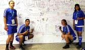 American Samoa young athletes at the Football For Hope Festival in Russia, Moscow (from l—r) Gabriel Taumua, Chris Faamoana, Susan Godinet and Seirosa Tuaua