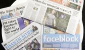 Newspaper headlines in Australia over Facebook move