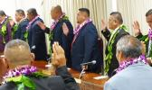 Some of the 21 House members during yesterday's swearing-in ceremony