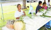 A farmer in American Samoa displays his produce at a farmers market
