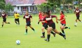 A Tafuna Warriors' player dribbles during a promising attack against the Faga'itua Vikings