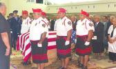 The Police Honor Guard escorting the United States flag-draped casket of the late Sen. Galeai Moaali'itele Tu'ufuli