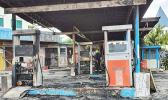 Gas station that was set on fire