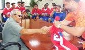 American Samoa Baseball Association president, Marcus Langkilde presented Gov. Lolo Matalasi Moliga with team jersey.