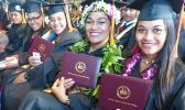 Smiling faces of some of the graduates at the American Samoa Community College's Spring 2018 graduation ceremony last Friday at the ASCC Multi Purpose Center Auditorium. [photo: Leua Aiono Frost]