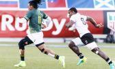 Rosko Specman #11 of South Africa outruns Jerry Tuwai #9 of Fiji to score during the Cup Final match between South Africa and Fiji at the HSBC Rugby Sevens Series held in Sam Boyd Stadium March 3-5, 2017. Final score:  South Africa-19, Fiji-12. (Photo by Allan Hamilton/ Calibre Sports Photomedia)