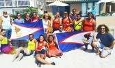 American Samoa's U18 Women's Beach Handball Team with supporters