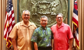 (left to right) OIA Director Nik Pula, Hawaii Governor David Ige, and Assistant Secretary for Insular Areas Doug Domenech December 14, 2017. [courtesy photo]