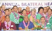 Group photo of some of the delegates at the opening the three-day 7th Bilateral Health Summit of the two Samoas hosted by American Samoa at the Gov. H. Rex Lee Auditorium. Front row (l-r): Rev. Alapi Eti of the CCCAS Ierusalema Fou; Lt. Gov. Lemanu Peleti Mauga; and Samoa government's Associate Minister Salausa Dr John Ah Ching. [photo: AF]