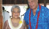 First Lady, Cynthia Malala Moliga with Samoa's Associate Minister for the Ministry of Communication and Information Technology, Lealailepule Rimoni Aiafi