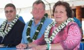 [l-r] Territorial Bank of American Samoa president and CEO, Drew Roberts; Bank of Hawaii senior vice president Hobbs Lowson — who was also a former head of BoH operations in the territory, and Congresswoman Aumua Amata