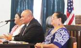 [l-r] Human Resources director Lynn Pulou-Alaimalo, the governor's chief of staff Tuimavave Tauapa'i Laupola and ASG Budget Planning Office director Catherine Saelua