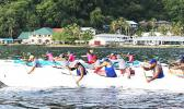 Start of the Open Mixed race of the 2017 Aunu'u Iron Challenge in American Samoa that saw nine teams with 54 paddlers from 5 different countries compete; it's the first international outrigger race of the year in American Samoa.  [Courtesy photo]