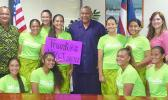 """Measina"" American Samoa volleyball team and supporters with Lt. Gov. Lemanu"