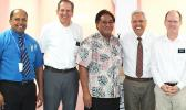 [l-r] LBJ Hospital's Chief of Orthopedics, Dr. Ledua; US certified orthopedic surgeon Dr. John Edwards; LBJ chief executive officer Faumuina John Faumuina; Elder Vince Haleck of The Church of Jesus Christ of Latter-Day Saints; and US certified radiologist Dr. Gregory Patch