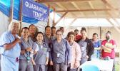 Dr. Iotamo Saleapaga (far left) and the hospital's medical staff