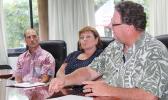 [l-r] Hawaiian Airlines cargo representatives Brad Matheny and Dana Knight along with Island Fisheries Inc., president Peter Lamy