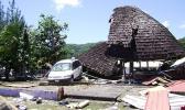 Damaged Samoan fale in Leone from 2009 tsunami