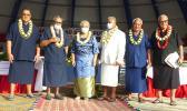 [l-r] Senate President Gaoteote Palaie Tofau, Gov. Lolo Matalasi Moliga, First Lady Cynthia Malala Moliga, the Rev Elder Fa'aetete Saifoloi, House Speaker Savali Talavou Ale, and Secretary of Samoan Affairs Mauga Tasi Asuega