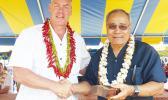 Interior Secretary Fofoga-o-Samoa Ryan Zinke presents Governor Lolo Matalasi Moliga with a special medal