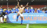 Manu Samoa player doing victory dance